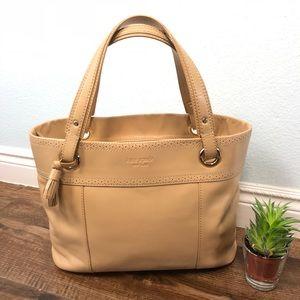 Kate Spade tan camel leather tote bag